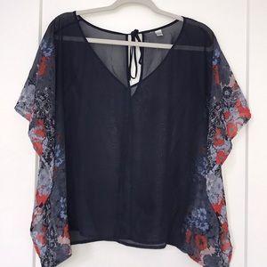 Blue Floral Sheer Top